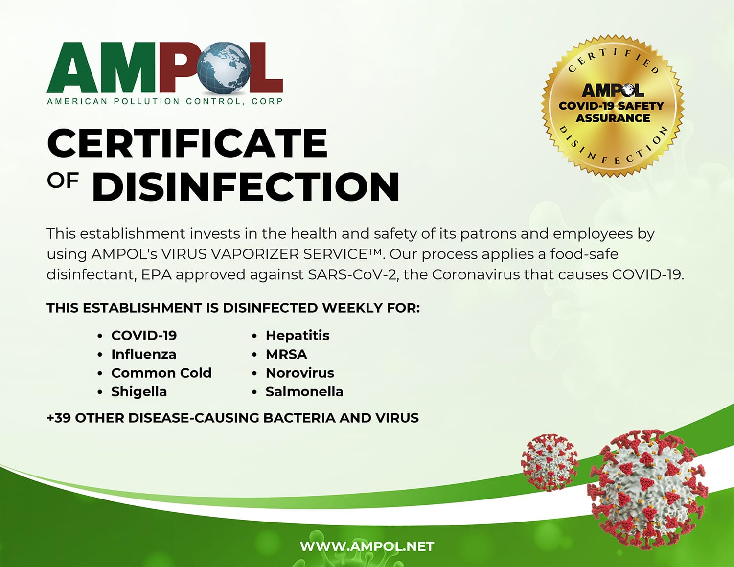 Ampol COVID19 Disinfection Certificate